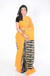 Yellow & Black Khesh Cotton Saree