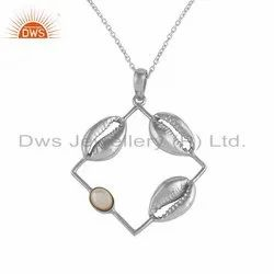 Sterling Silver Mother of Pearl Cowrie Design Pendant Necklace