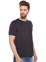 100% Cotton Men Short Sleeve Solid Black Round Neck T-Shirt