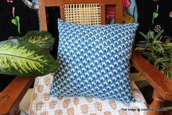 Indigo Blue Hand Block Cotton Cushion Cover