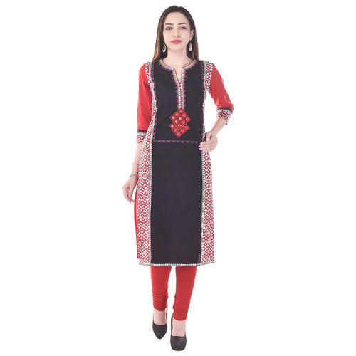 Cotton 3/4th Sleeve Printed Embroidery Fancy Kurti