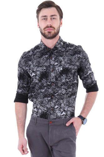 c3e7483e81c Printed Mens Black Full Sleeve Casual Shirt