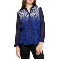 Ladies Georgette Printed Shirt, Size: S to XL