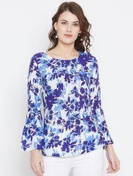 Party Wear Full Sleeve Women Printed Rayon Top