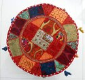 Hand Embroidered Ottoman Pouf Cover Khambadiya Round Pouffe