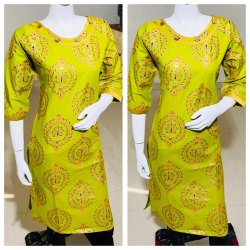 Straight Gold Printed Kurti