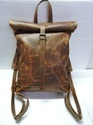 Rustic Leather Roll On Backpack