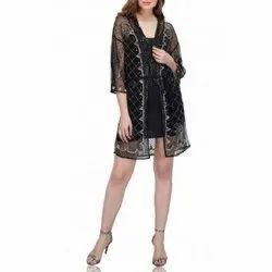 Polyester, Net Black Long Embellished Shrug