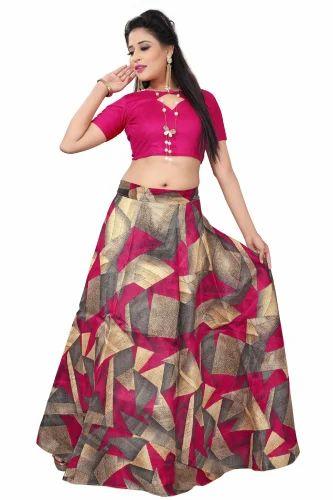 bc90e011ab308 Banglori Satin Pink Designer Lehenga Choli