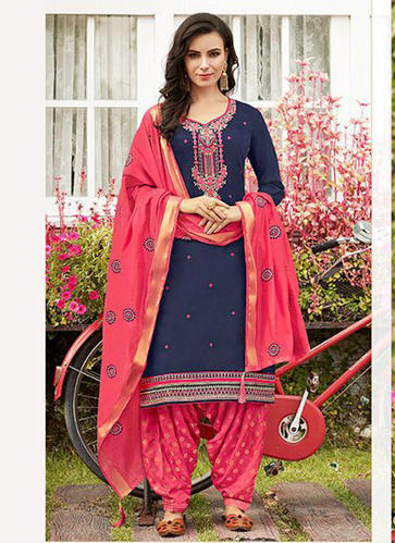 02c71ae749 Cotton Navy Blue Punjabi Style Patiala Suits, Rs 1235 /piece | ID ...