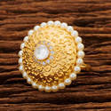 White Height = 30 Mm || Width = 30 Mm Designer Classic Ring With Gold Plating 45197