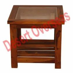 Desert Overseas Wooden And Glass Square Wooden Peg Table