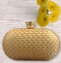 Designer Lock Beautiful Golden Box Clutch