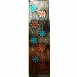 Floral Printed Glass, Size: 5 X 2 Feet, for Door, Window