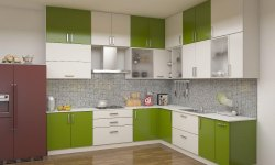Wooden L Shape Modular Kitchen Interior Service