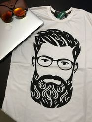 Men Beard Classy White T Shirt