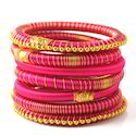 Indian Handcraft Magenta Gold Tone Silk Thread Bangles
