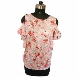 Ladies Cotton Printed Cold Shoulder Top, Size: S, M & L