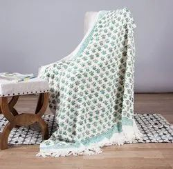 Green Floral Printed Cotton Throws