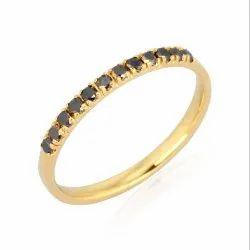 Full Cut Black Diamond Yellow Gold Band Ring