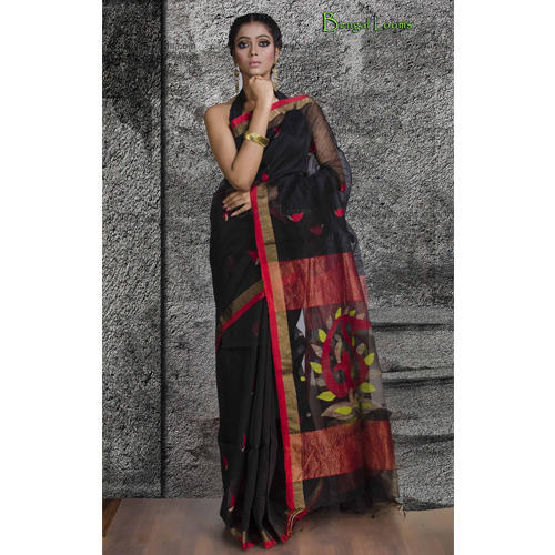 1f080f877d Pure Khadi Silk Jamdani Saree in Black and Red at Rs 8700 /piece ...