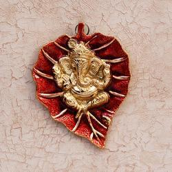Red Ganesha Wall Hanging