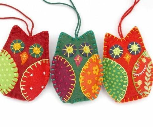 Animal Shaped Multi Felt Christmas Ornaments