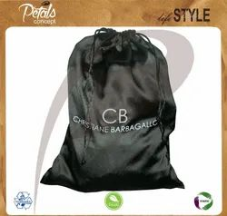 Custom Logo Print Rich Look Black Satin Drawstring Bag, Size/Dimension: 16 x 13inch