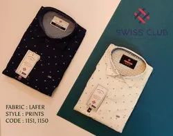Cotton Collar Neck Swiss Club Men's Casual Lafer Printed Shirt