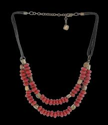 2 Row Disc Shape Red Glass - Gold Aluminium - Black Leather Cord Necklace