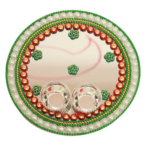 decorated mirror thali - Decorated Mirror