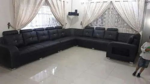 Big Hall Black Corner Sofa Set