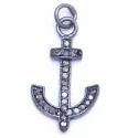 Pave Diamond Anchor Charm Pendant