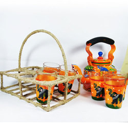Multicolor Handpainted Kettle Set, for Home