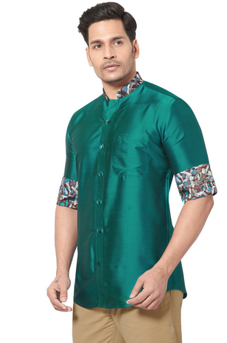 d17f389210b90 Parrot Green Dennis Morton Designer Collection Partywear Art Silk Shirt -  COMARS 998