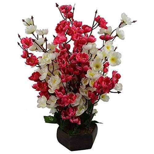 DecoratingLives Bonsai Blossom Artificial Flowers with Wooden Pot(17Inch)