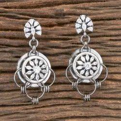 White Brass Black Rose Plated Designer Classic Earring 406974