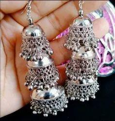Casting White Kashimiri Oxidized Triple Layer Earrings