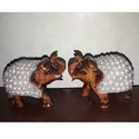 Wooden Elephant Statue with Beads Work