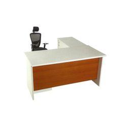 White Wooden Executive Office Table, Shape: L Shape