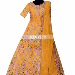 Heavy Exclusive Indian Designer Yellow Lahenga Choli With Blouse Party Wear Choli