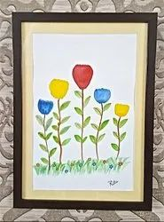 Paper Blooming Flowers Water Colour Handmade Painting