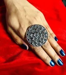 Round Shape Flower Texture Oxidized Ring