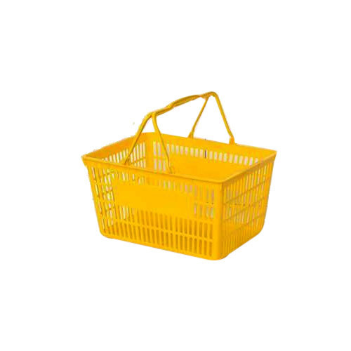 Rectangular Yellow Plastic Shopping Basket