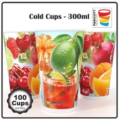 Paricott Printed Paper Glasses For Juice & Cold Drinks, Size: 330mL (12oz)