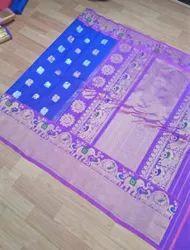 Party Wear Printed Ladies Designer Silk Saree, 6 m (with blouse piece)