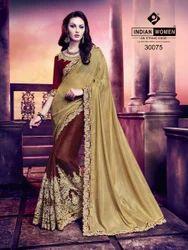 Indian Women Gold & Maroon Georgette With Glitter Work Saree