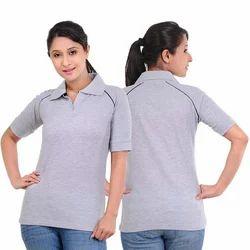 Half Sleeve Collar Ladies Cotton T Shirts