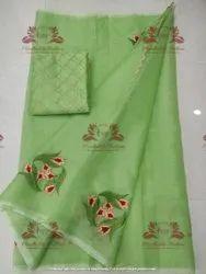 Ladies Kota Doria Embroidery Saree