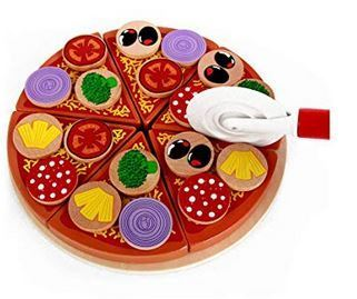 9afa36c221c 27Pcs Wooden Pizza Cutting Toy - Best Pizza Pretend Play Toy Set For  Toddlers.